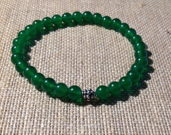 Mens 6mm Green Jade stretch bracelet with sterling silver granulated Bali bead