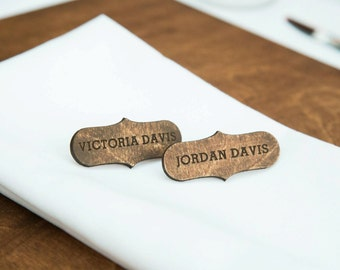 Wood laser cut names, Wood table place, Wooden guest names, Wood tablescape, Wedding place cards, rustic table settings, name tags,