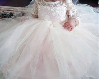 Lace & Tulle Tutu Floor Length Flower Girl Dress With Lace Sleeves - A Toddler or Child Dress, Pageant, Baptism  - The Ashley Dress