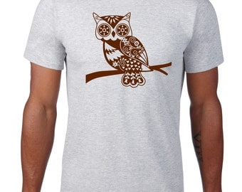 Owl Shirt, Whimsical Owl Tshirt, Forest Animal Tshirt, Owl T Shirt, Woodland Critter, Owl Tee, Graphic Tee, Mens Plus Size