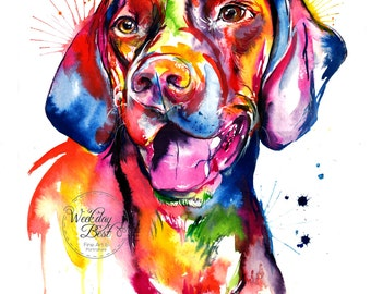 Colorful German Short-haired Pointer or Weimaraner Art Print - Print of my Original Watercolor Painting