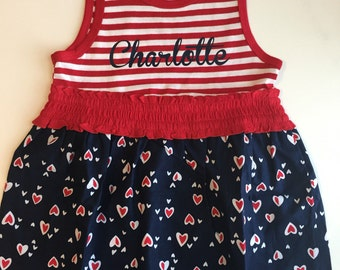 Personalized  Memorial day, 4th of July, Labor Day  dress  -  Baby, infant, toddler girls 4th of July outfit,