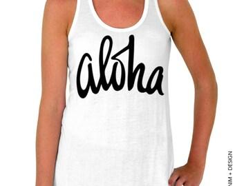 Aloha - White Flowy Tank Top
