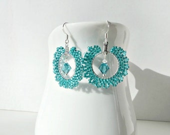 Teal Blue Hoop Earrings - Handmade Beaded Jewelry