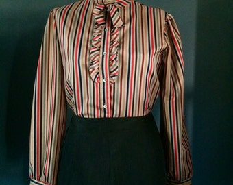 Vintage Women's Blouse with Bow and Ruffle, Button up Striped Secretary Blouse, Business Shirt, 70s Vintage Blouse