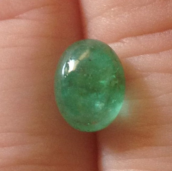 Emerald Cabochon 2.05 Oval 7x9.5mm Natural Brazilian Green Gemstone with Video