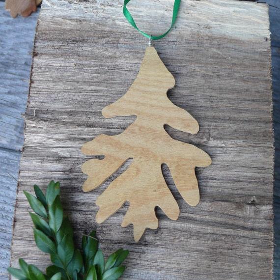 Fall Autumn wedding decorations, Rustic wood ornament, Natural wood Oak leaf ornament, Turn over a new leaf, Natural Christmas wood ornament