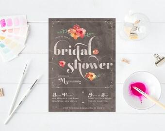 Floral Bridal Shower Invitations - Modern Watercolor Bridal Shower - Stripes & Flowers Feminine Bridal Shower Invites - Printable or Printed