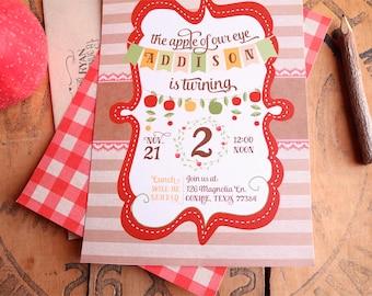 Apple Birthday Party Invitations - Fall or Autumn Harvest Birthday Party Invites - Apple of our Eye - Printable Invitations