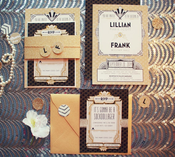 Black and Gold Great Gatsby Wedding Invitations - Nellie