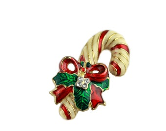 Striped Gold Tone and Red Candy Cane Brooch / b16