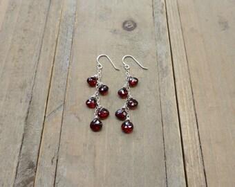 Deep Blood Red Garnet Silver Cascade Earrings