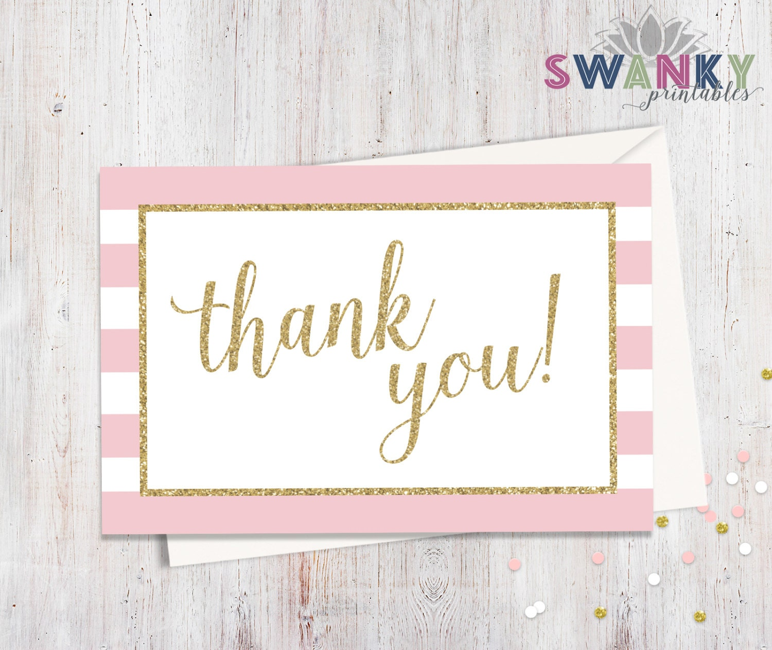 Girl Baby Shower Thank You Cards Pink And Gold Thank You