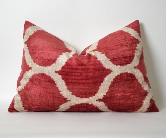 Red Ikat Pillow Cover Velvet Ikat Lumbar Pillow Decorative
