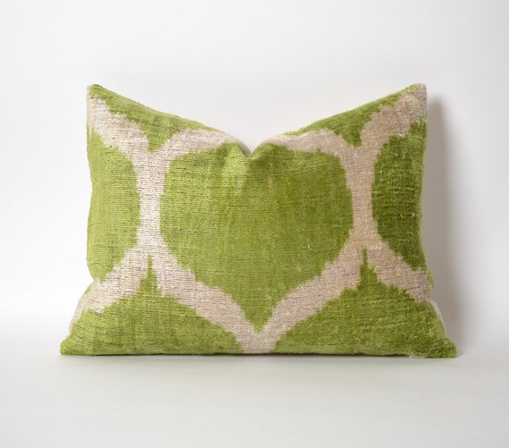 12x16 Kiwi Green Pillow Cover Handwoven Velvet Pillow green