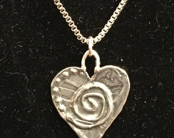 Artisan Made Hearts, Swirls and Dotted Necklace with Stainless Box Chain - 18""