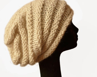 Oversized Beanie Hat - Slouch Beanie - Womens Knit Hat - Beehive Beanie - Natural Fiber - Off-White Hat - Luxury Baby Alpaca - Women Hat