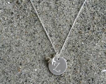 Monogram Necklace, Star Necklace, Sterling Silver, Initial Necklace, Star Initial Necklace