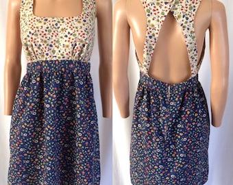 """1970s Ditsy Floral Babydoll Dress Open Back """"The Daisy Pot"""" Honolulu"""