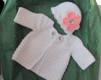 Newborn baby Sweater ( Jacket) and Hat Set, Baby Sweater Set, Easter Sweater, Crocheted Baby Gift, Infant Sweater Set, Easter Baby Sweater