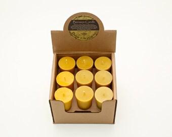 Set of 4 100% Raw Organic Beeswax Votive Candles 2oz