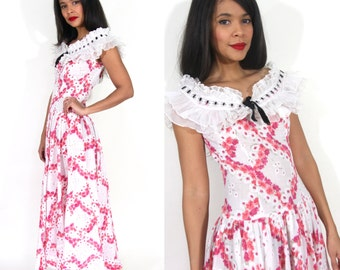 Vintage 40s Pink White Floral Lattice Maxi Dress Gown Full Skirt Ruffle Collar Glam