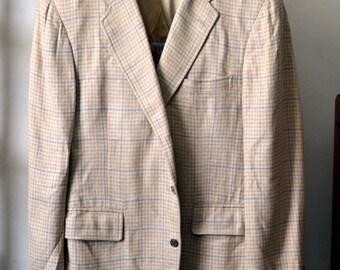 Vintage 1970s CHIPP Tan/Cream w. Blue Windowpane Lightweight Slub Woven Sport Coat Size 42