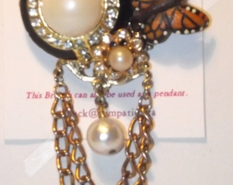 Faux Pearl, Butterfly theme,  1-of-a-kind Collage Brooch and/or Pendant made from vintage jewelry.  Rhinestones & Pearls. #61