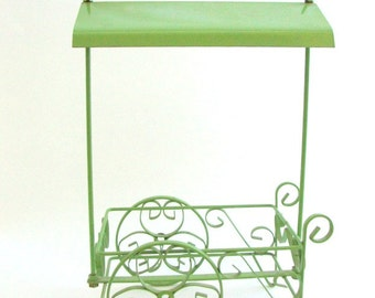 Green Cart, Vintage Cart, Green Metal Cart, Flower Cart, Cart Planter, Vintage Planter Green Planter Plant Holder Fruit Basket Napkin Holder