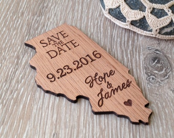 Save the date magnets, US state shaped save the dates, wooden save the dates, rustic save the date magnets, wedding save the dates