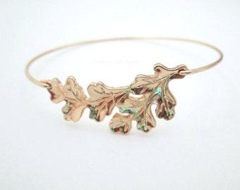 Oak Leaf Bracelet, Autumn Bracelet, Leaf Bracelet, Leaf Bangle,Leaf Jewelry, Leaf Bracelet,Oak Leaf Bracelet,Tree Jewelry,Forest Jewelry