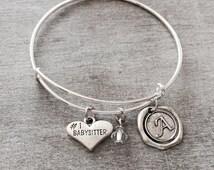 Number 1 Babysitter, Silver Plated Charm Bracelet, Babysitter Jewelry, Babysitter Gift, Babysitter Bangle, Adjustable, Expandable, Bracelet