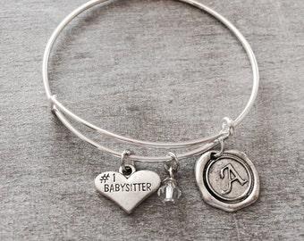 SALE, Number 1 Babysitter, Silver Bracelet,  Charm Bracelet, Babysitter Jewelry, Babysitter Gift, Babysitter Bangle, Adjustable, Expandable