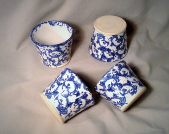 Set of 4 Small Serving Dishes with Blue & White Swirled Pattern - Conner Prairie Custard Cup - Kitchen Storage Dish