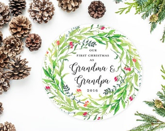 Our First Christmas as Grandma and Grandpa, Personalized Ornament, New Grandparents Ornament with Flower Wreath