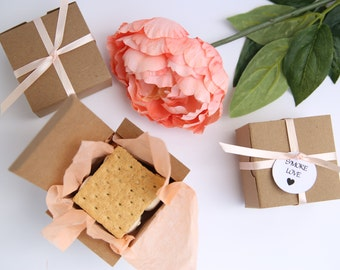 100 Kraft Gift Boxes - 3x3x2 boxes with tuck top