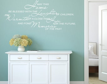 Quote Wall Decal - May This Home Be Blessed - Inspirational Quote Wall Stickers - Quote Wall Art - Word Wall Decals - Family Quotes - QU093