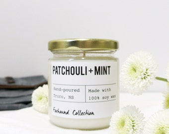 Patchouli and Mint Scented Soy Candle / Hand poured /Small batch