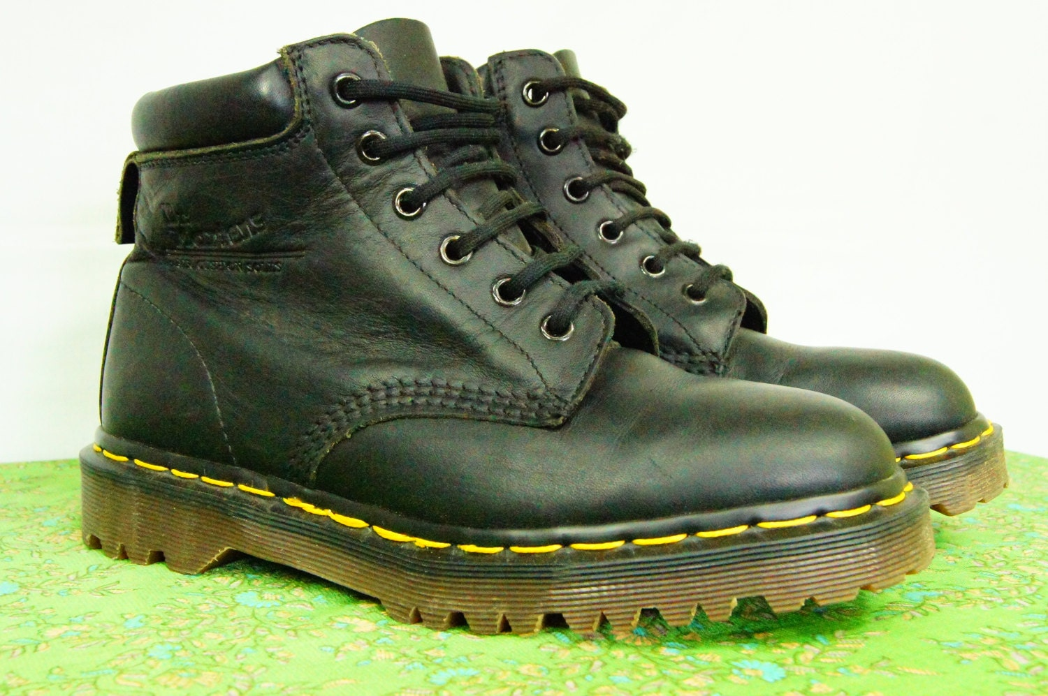 vintage black doc marten boots six made in