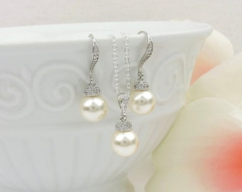 Free US Ship Swarovski Pearl Bridal Necklace And Earring Set Pearl And Cubic Zirconia Bridal Set Pearl Solitare Necklace And Earrings