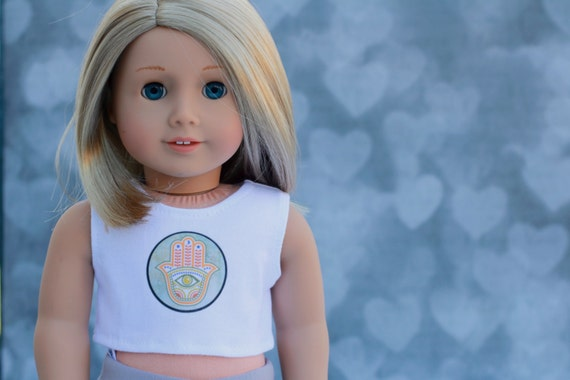 American Made Doll Clothes | Hamsa Hand Graphic CROP TANK TOP for 18 inch doll such as American Girl Doll