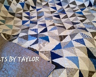 Handmade Patchwork Quilt, Gray Quilt, Homemade Quilt, LAP Size , Made To Order Quilt, Gray Quilt, Blue Quilt, Quilts By Taylor, Baby Quilts