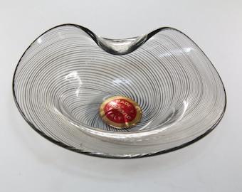 Italian murano glass dish  / grey murano / ring dish / glass decor / murano glass dish / real murano glass / Murano, Italy / murano dish