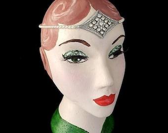 Vintage Art Deco Forehead Band, Sterling, Bridal Circlet, 1920's Browband, Flapper Headpiece, Diamond, Hair Chains, Gatsby, Bridal Headpiece