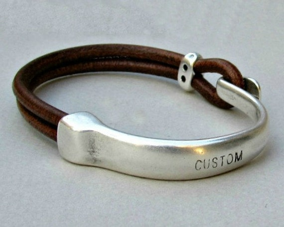 Mens Personalized Bracelet, Engraved Mens Leather Bracelet, Black Brown Mens  Leather Bracelet, Custom Men Bracelet Customized On Your Wrist