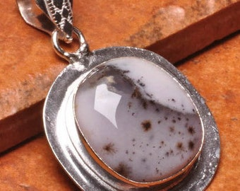 Dendritic, Grey and White, Agate Gemstone, Silver Pendant