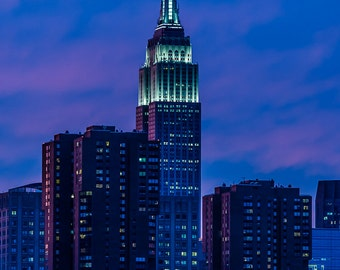 Empire State Building Sunset - New York City - Blue