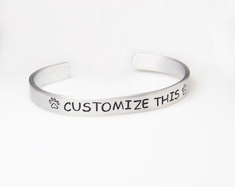 Custom bracelet personalized hand stamped engraved bracelet personalize bracelet personalized cuff Christmas gift stocking stuffer