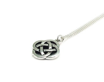 Celtic Knot Necklace Sterling Silver Plated Chain