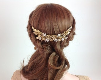 Bridal Hair Comb - Exquisite large decorative wedding hair comb in gold - Ready to ship